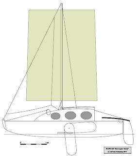scow à voile, barge à voile, voilier fluvial, plan de voilier, voilier de poche