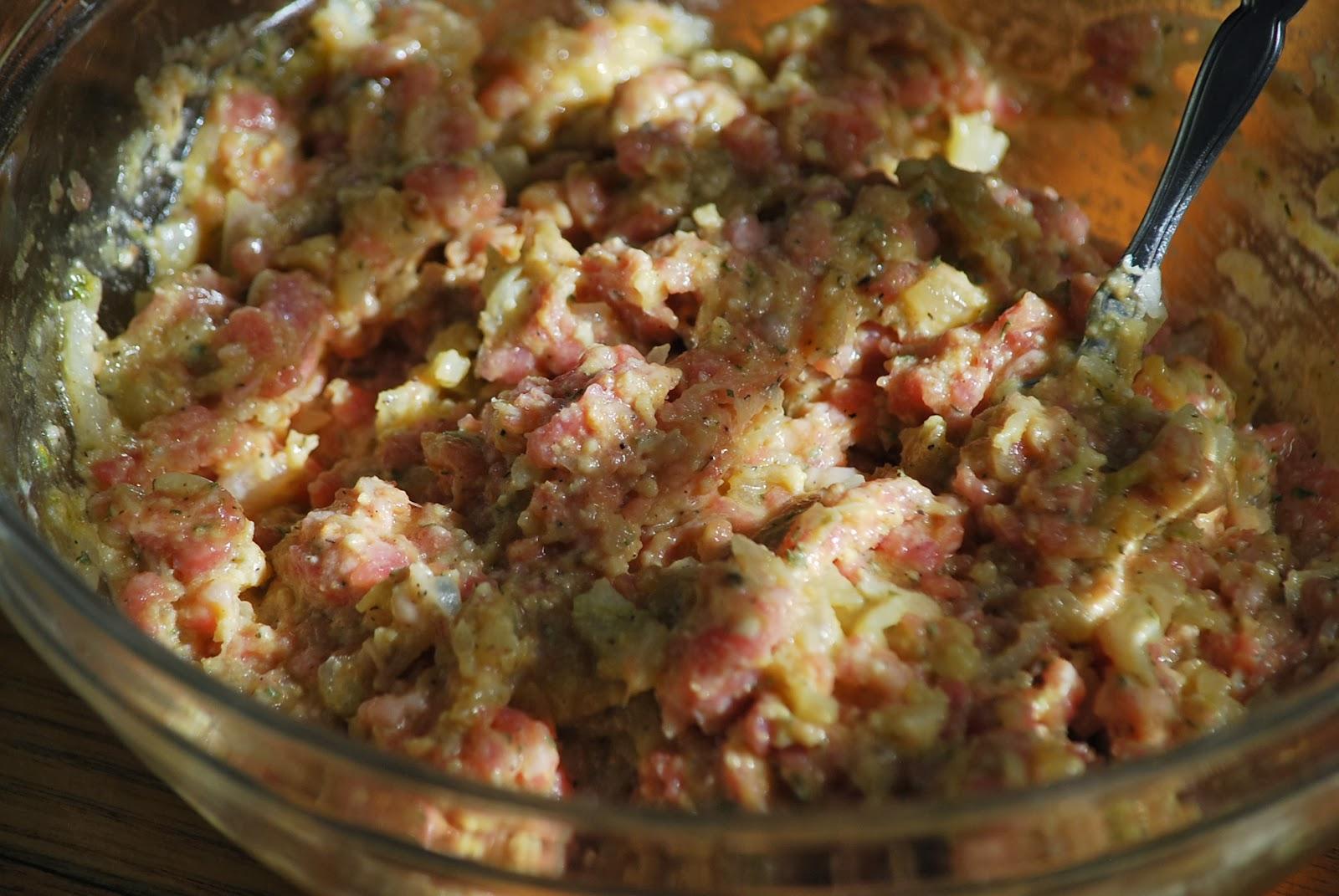 Add pork, eggs, yolks, parsley, mustard, Worcestershire, 1 teaspoon ...