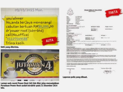 SMS tawaran hadiah RM30 000 daripada syarikat Power Root adalah palsu