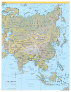 Asia. Political map. Physical map. Satellite map