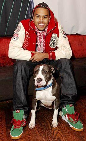 Chris Brown feliz con su perro