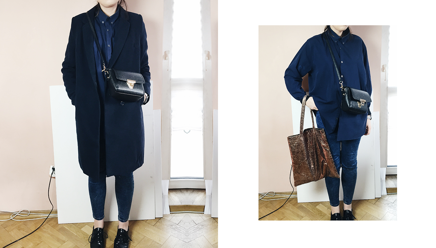 IN THE NAVY fashion style navy shirt navy coat jeans minimalist style goldandberry gold and berry blog