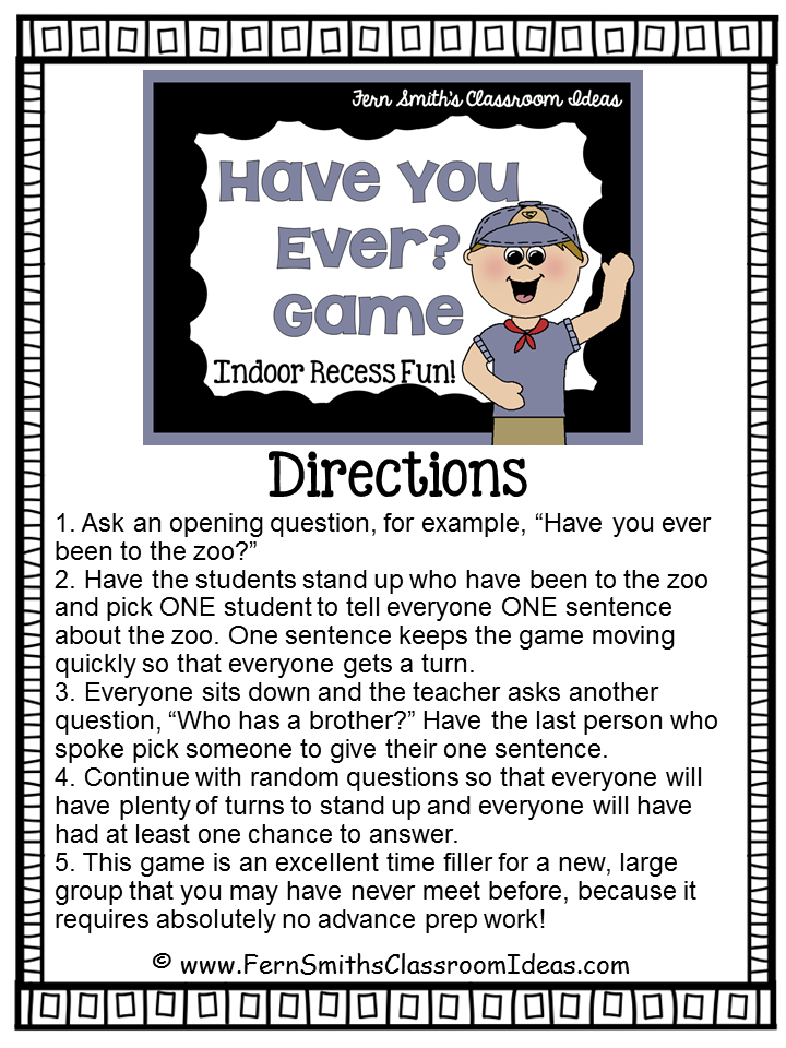 Fern Smith's Classroom Ideas FREE Have You Ever Game Printable