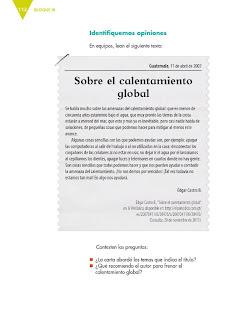 Apoyo Primaria Español 6to Grado Bloque III Lección 9 Escribir cartas de opinión para su publicación