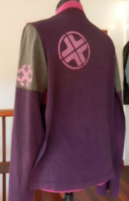 stencilling on a refashioned pullover