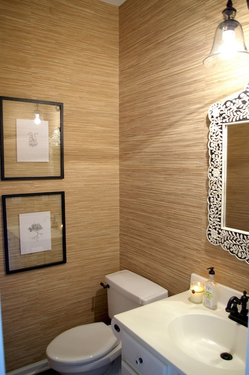 grasscloth wallpaper bathroom