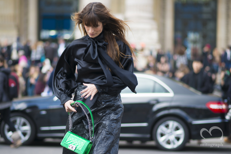 Model Caroline de Maigret leaves Chanel show during Paris Fashion Wekk 2014 Fall WInter PFW