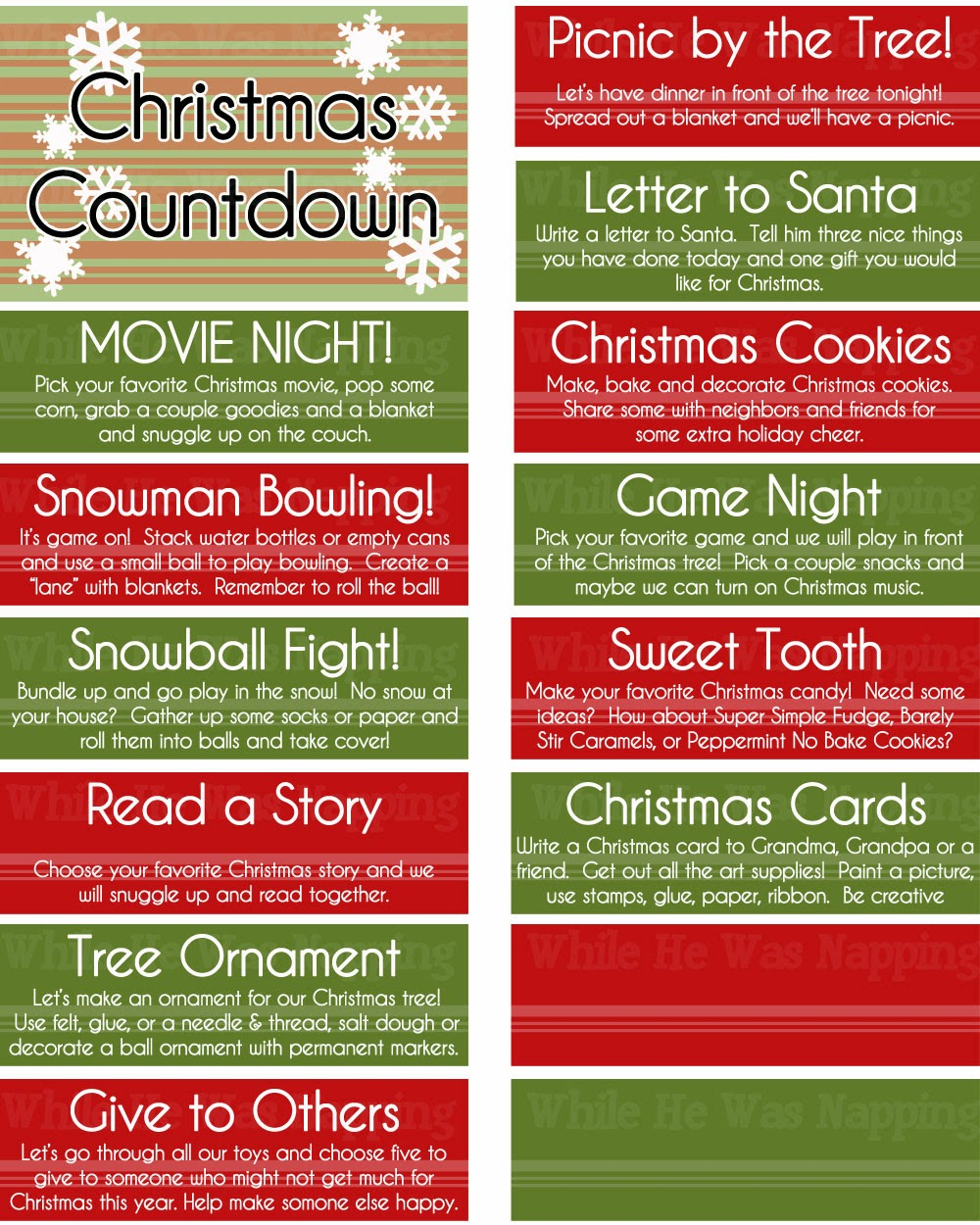 Advent Calendar Ideas Christmas : Printable kid s christmas countdown jar while he was