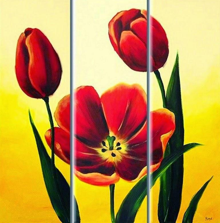 Cuadros pinturas oleos cuadros de flores tripticos for Cuadros tripticos grandes