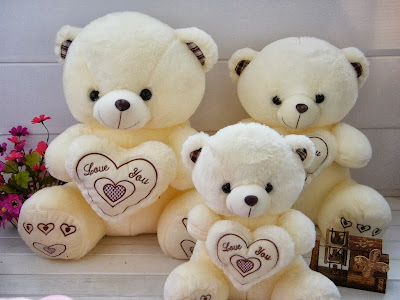Cute White Teddy Bear Family