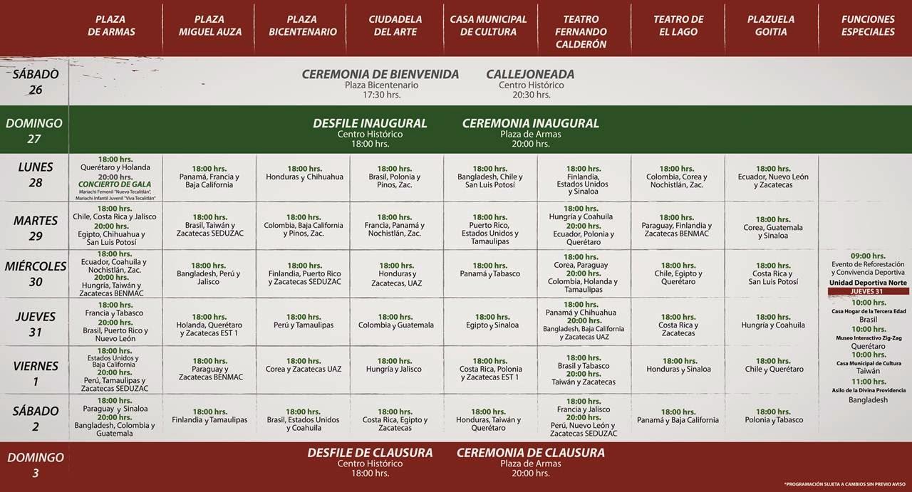 programa festival del folclor zacatecas 2014