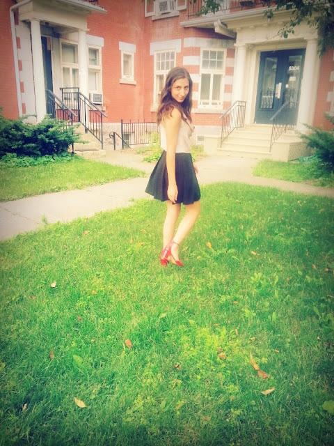 red shoes black zara flared skirt cowl neck grass girl fashion