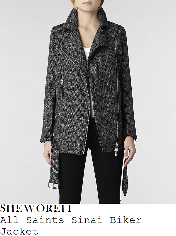 nicole-scherzinger-grey-tweed-biker-jacket-coat-all-saints-store