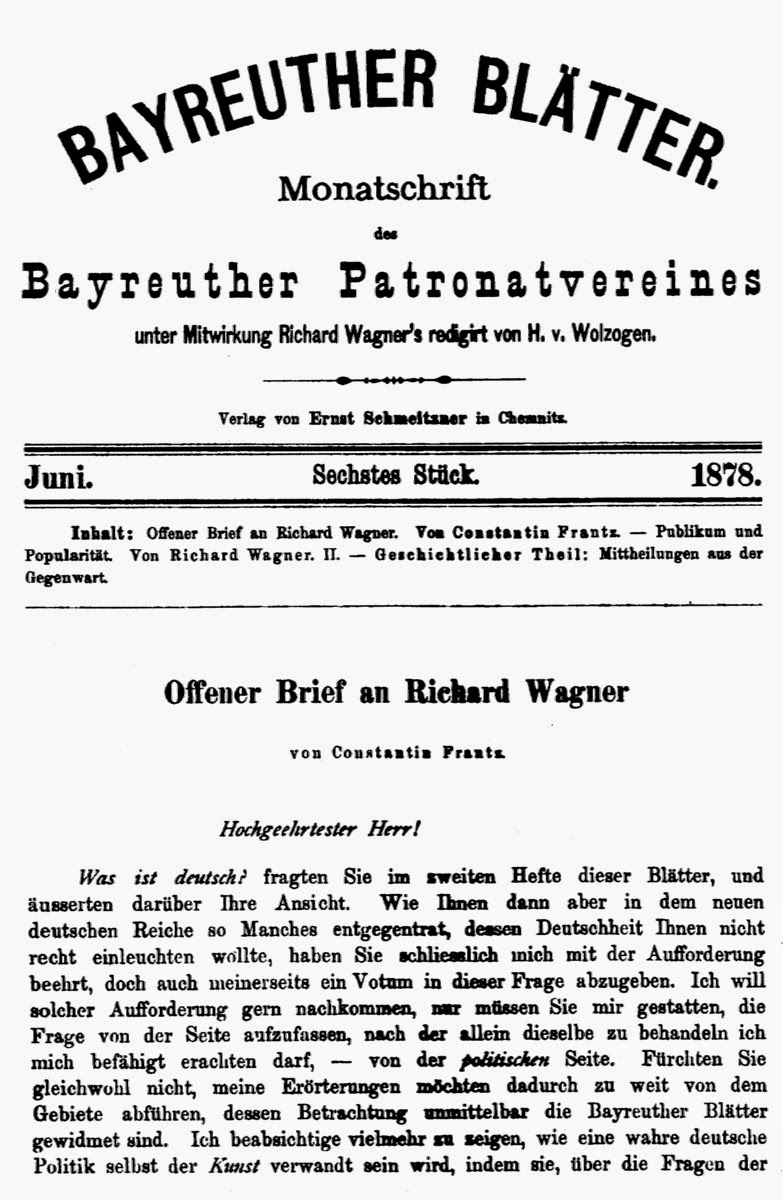 Constantin Frantz: Offener Brief an Richard Wagner | Think Classical