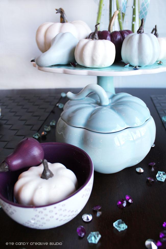 plum thanksgiving, pumpkin dish, painted pumpkins, thanksgiving table