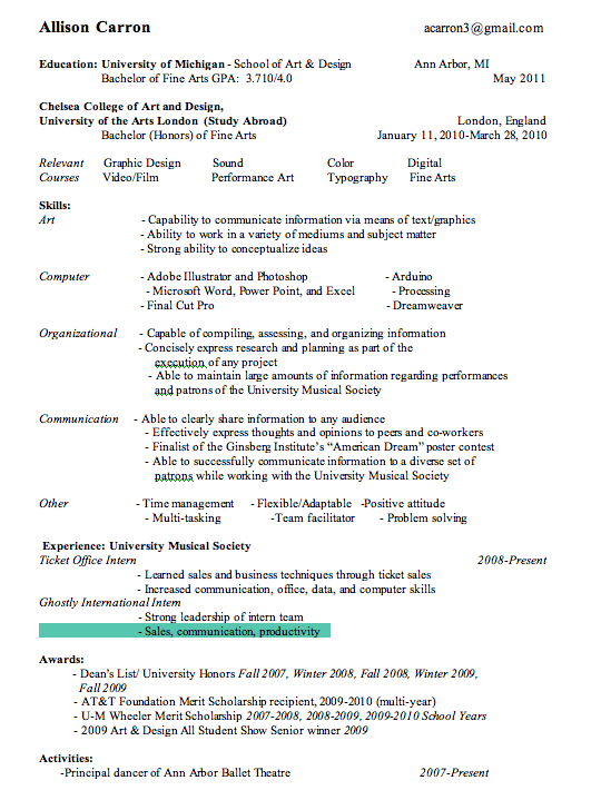 allison carron resume