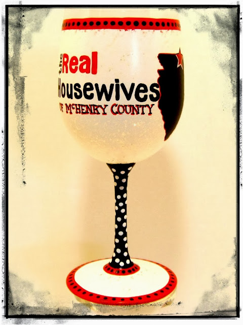 Real Housewives painted wine glass