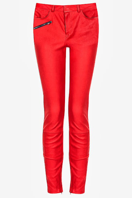 Kate Bosworth Topshop Red leather trousers