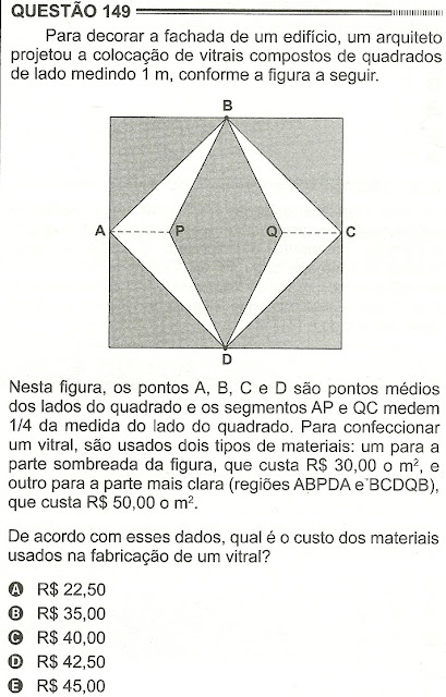 Exercício Resolvido Enem 2012 - Questão 149 (caderno amarelo - 2º dia)