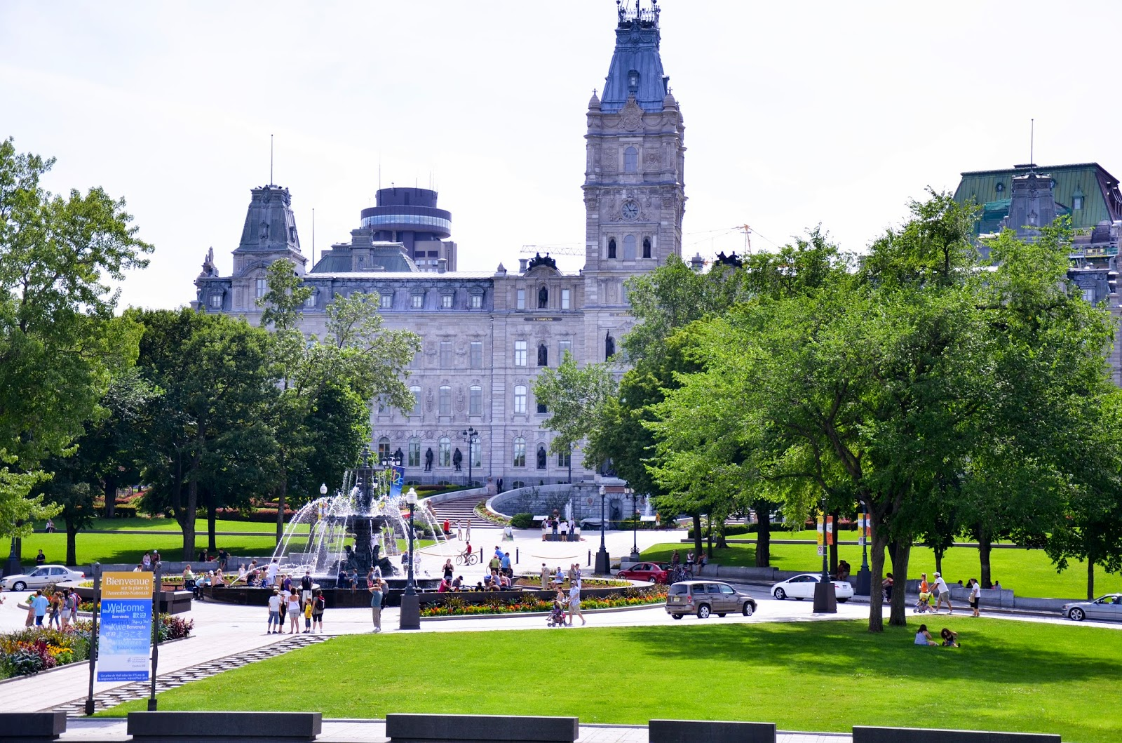 Parliament building in Quebec City and gardens on summer weekend getaway