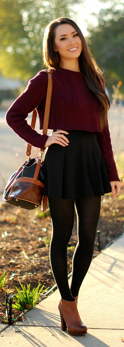 Burgundy Crop Sweater with Black Ruffle Skirt | Chic Street Outfits