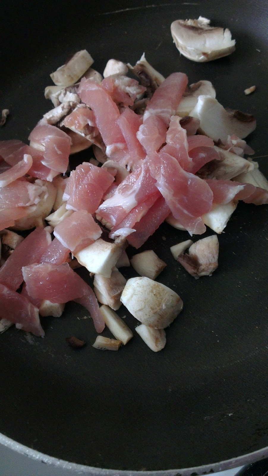 Chopped and diced mushrooms and bacon