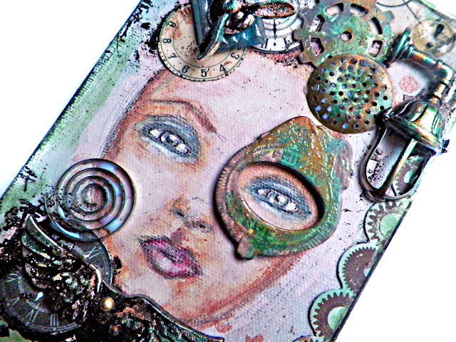 Portrait Painting Canvas by Lisa Novogrodski for Scraps of Darkness kit club using the September 2015 kit Tanyas Industrial Odyssey found on lisaslivingincolor.blogspot