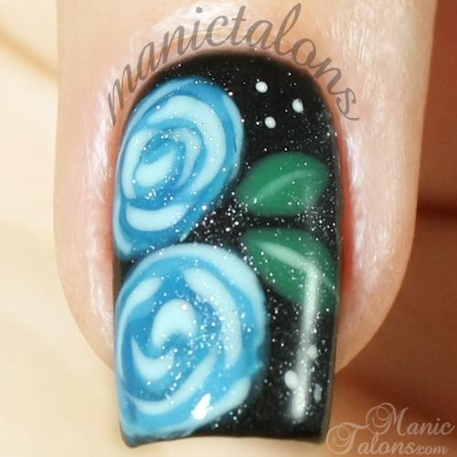 Blue Roses on Black with Revel Nail Gel Polish