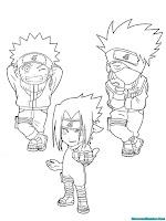 Mewarnai Gambar Kakashi, Sasuke, Naruto Ninja Desa Konoha