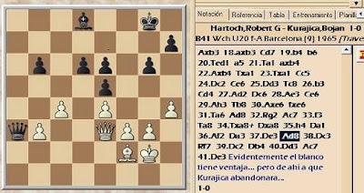 Posición de la partida de ajedrez Hartoch-Kurajica del VIII Campeonato Mundial Juvenil de Ajedrez
