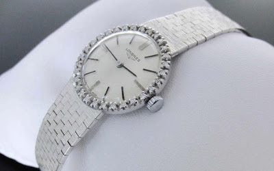 Vintage Longines white gold and diamonds watch