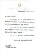 EL SALUDO DE CFK AL PAPA FRANCISCO I carta cfk al papa