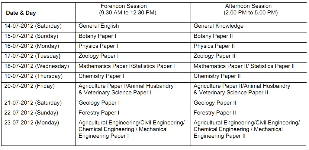 2012 | Timetable 2012 IFS Exam | IFS Exam 2012 Timetable , Time Table