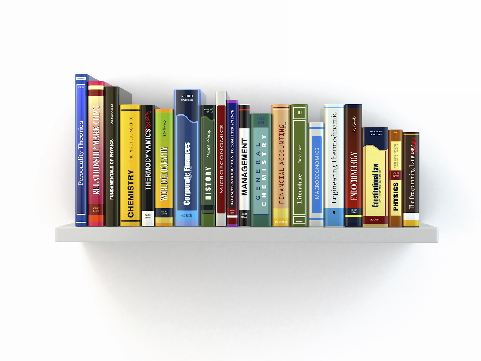 image shows small book shelf with array of textbooks.
