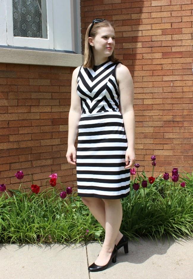 Loft Stripes | Something Good, stripe dress, black pumps, loft dress