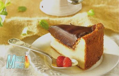 Tarta de queso y ganache de chocolate