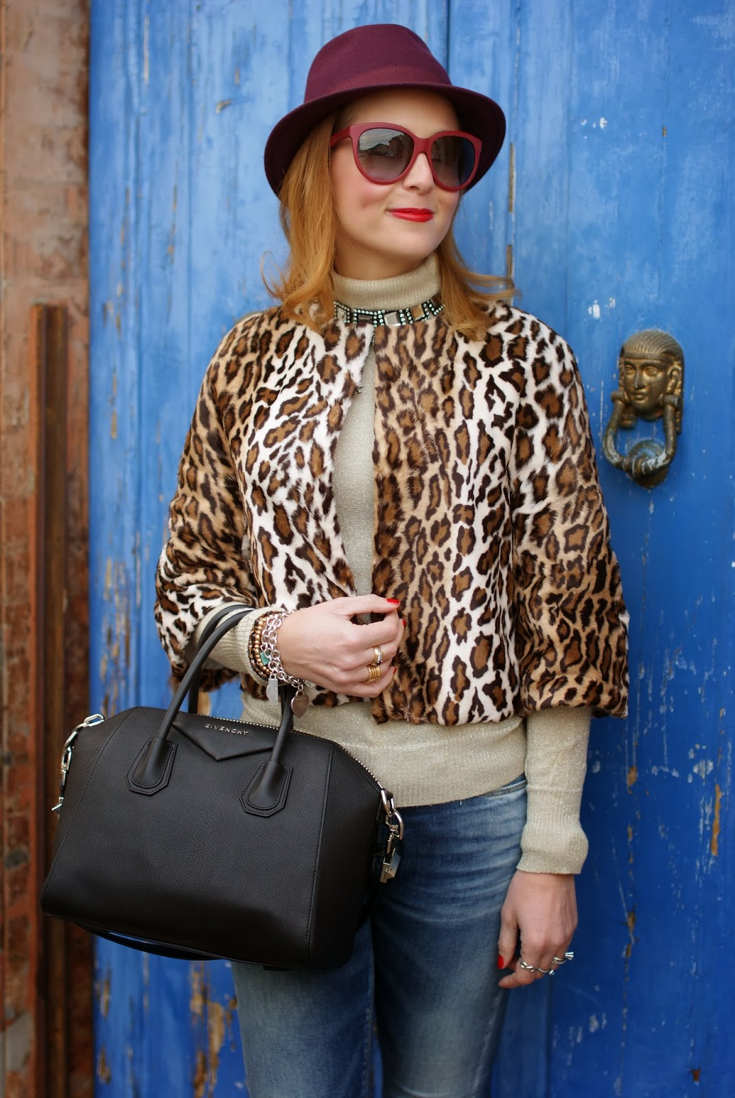 short leopard print furry jacket, Givenchy Antigona, Fashion and Cookies, fashion blogger