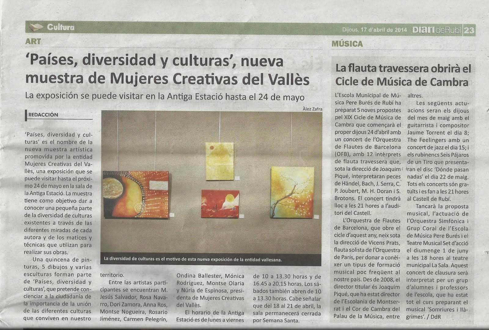 """Noticia de la exposición """"Países, diversidad y cultura"""" en el Diario de Rubí"""