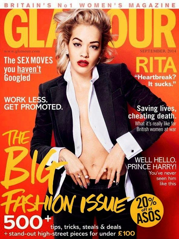 Rita Ora goes braless for the Glamour UK September 2014 cover