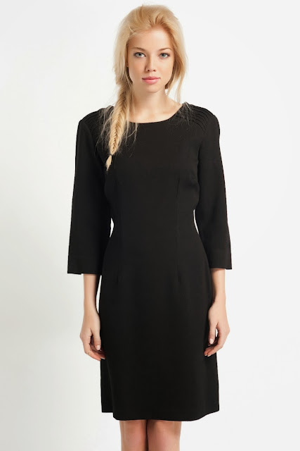 düz kesim siyah elbise, koton 2014