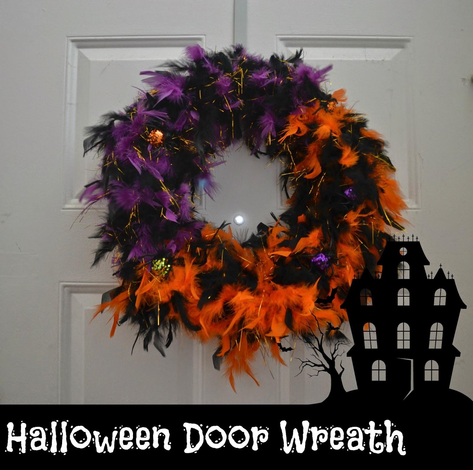 Feathered Halloween Door Wreath #DIY.  Easy Halloween Decorations. DIY Halloween Door Wreath.  Crafts with Boas.  Halloween decorations.  Halloween door decor.  Halloween Home Decor.  Door Wreath.