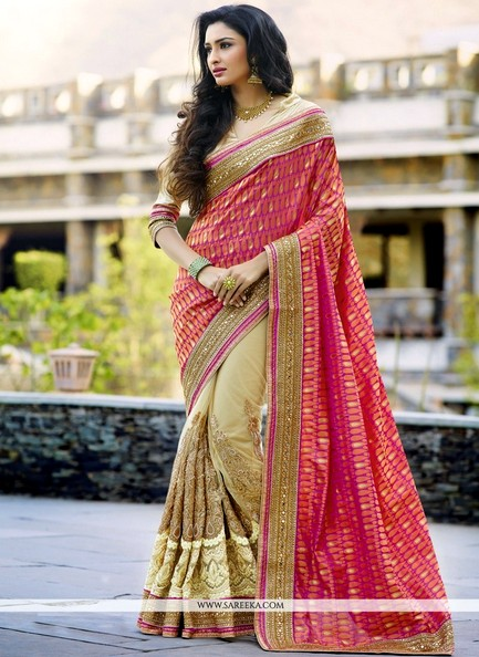 Adorable Net Hot Pink Plus Beige Designs Saree