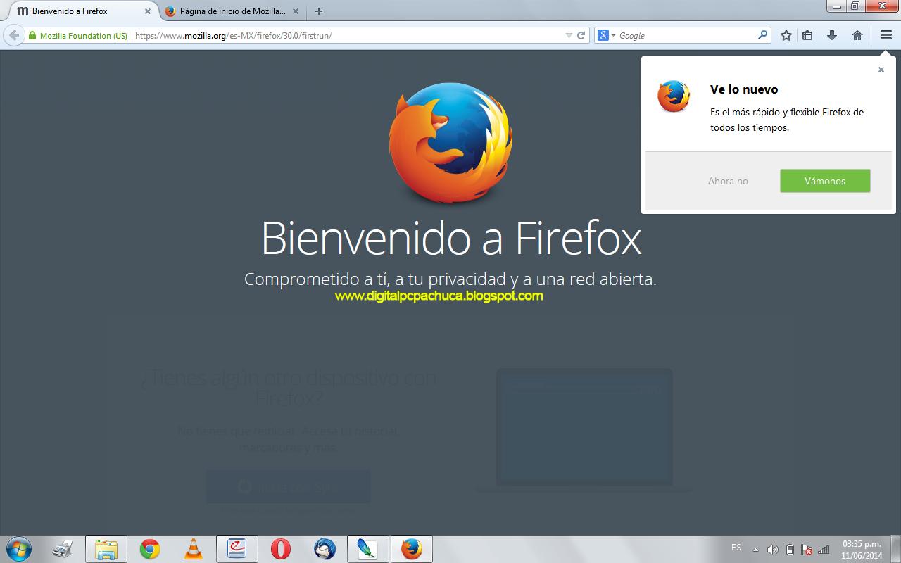 Pagina de bienvenida de Firefox