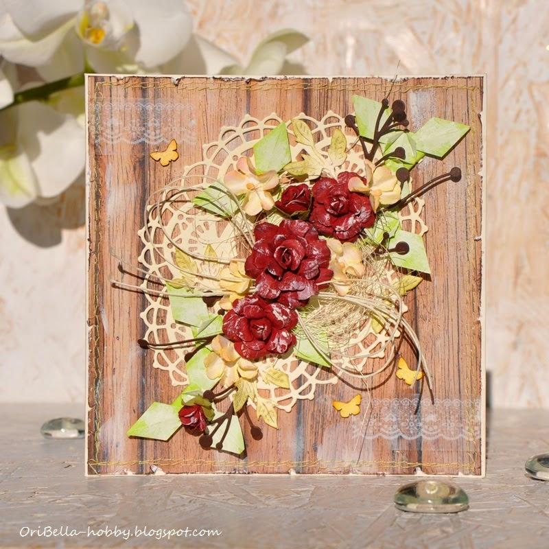 383. Czerwone róże z mozaiką origami.