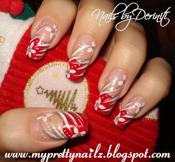 Christmas Tips Nail Art Nails French Holiday Flower