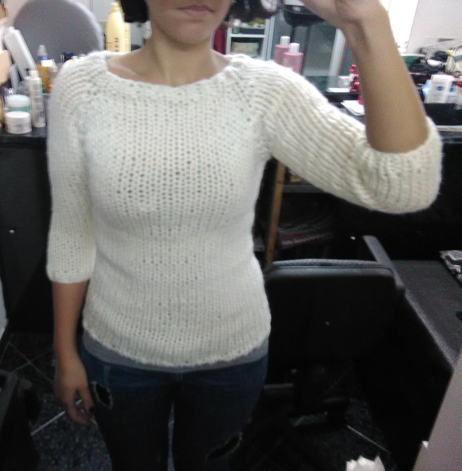 Top Gomitolando: Maglione di lana grossa con maniche a 3/4. QE11