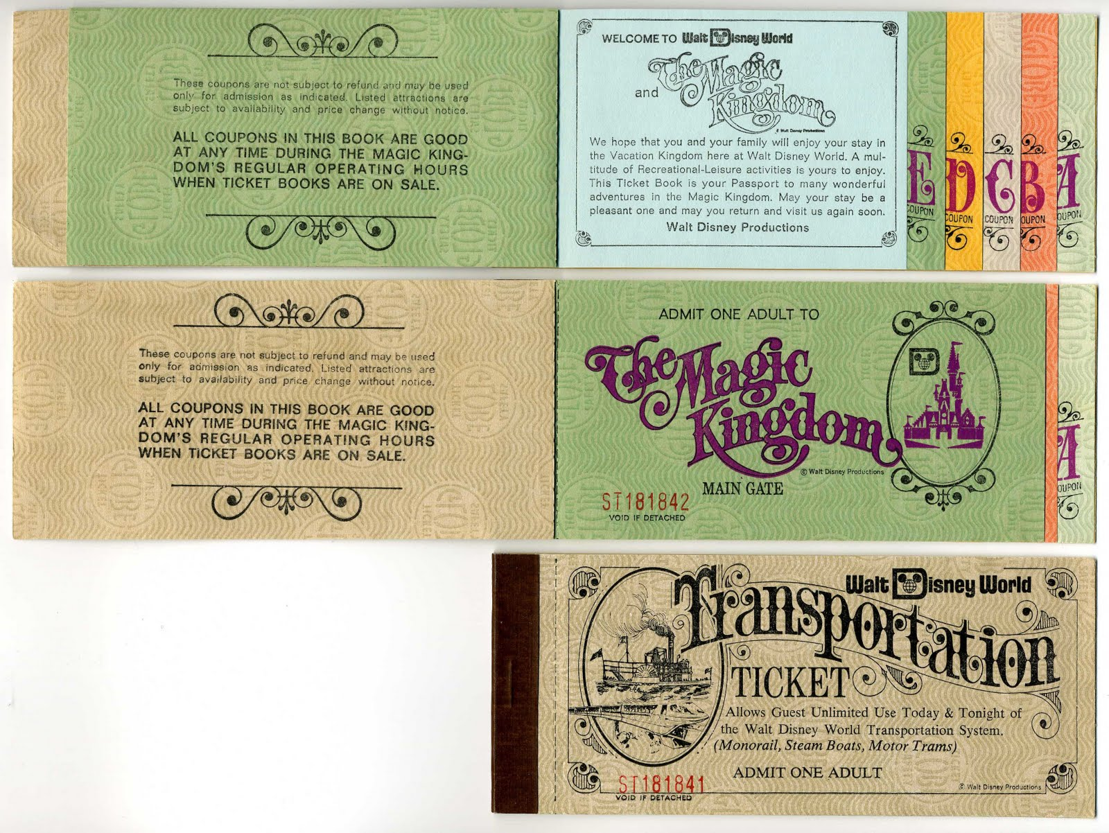 Vintage Disneyland Tickets September 2011