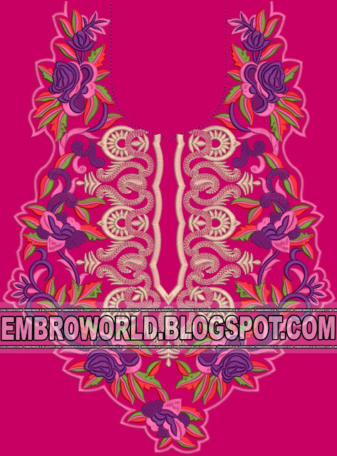 Classical Neck embroidery design with Mono matching