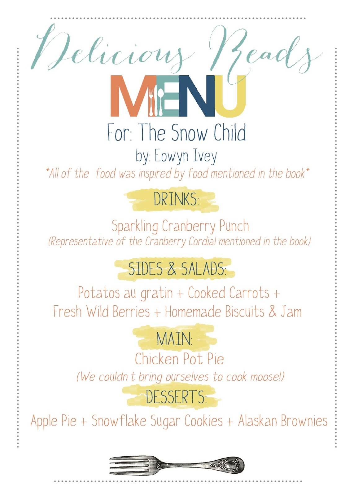menu for The Snow Child book