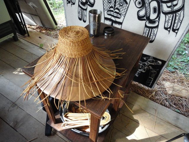 Traditional Native American Basket Weaving : Giihlgiigaa haida weaver cedar bark hats